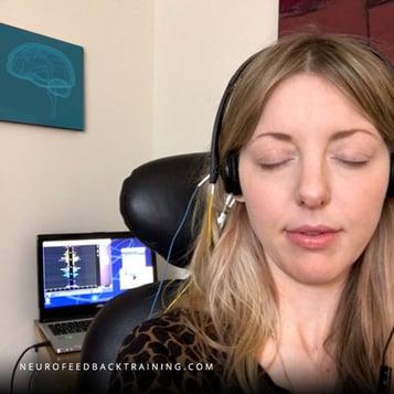 woman resting during neuroptimal neurofeedback session